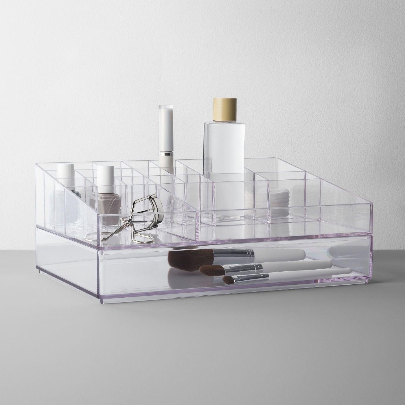 an acrylic cosmetic organizer