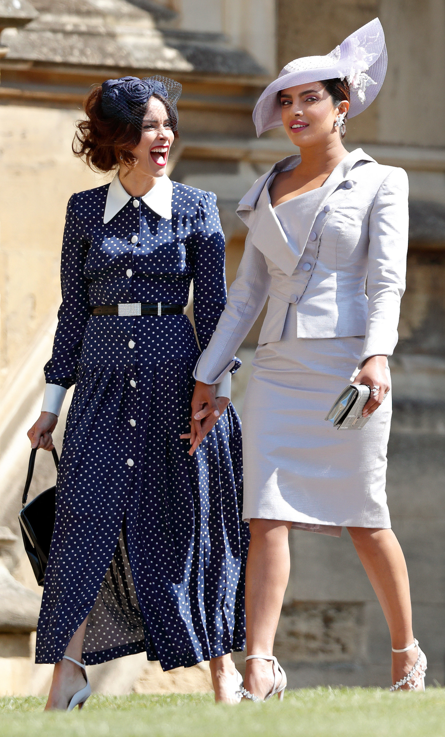 Abigail Spencer and Priyanka Chopra arrive at Prince Harry and Meghan Markle's 2018 wedding