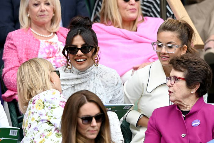 Priyanka Chopra is pictured during the Wimbledon Women's Final last weekend