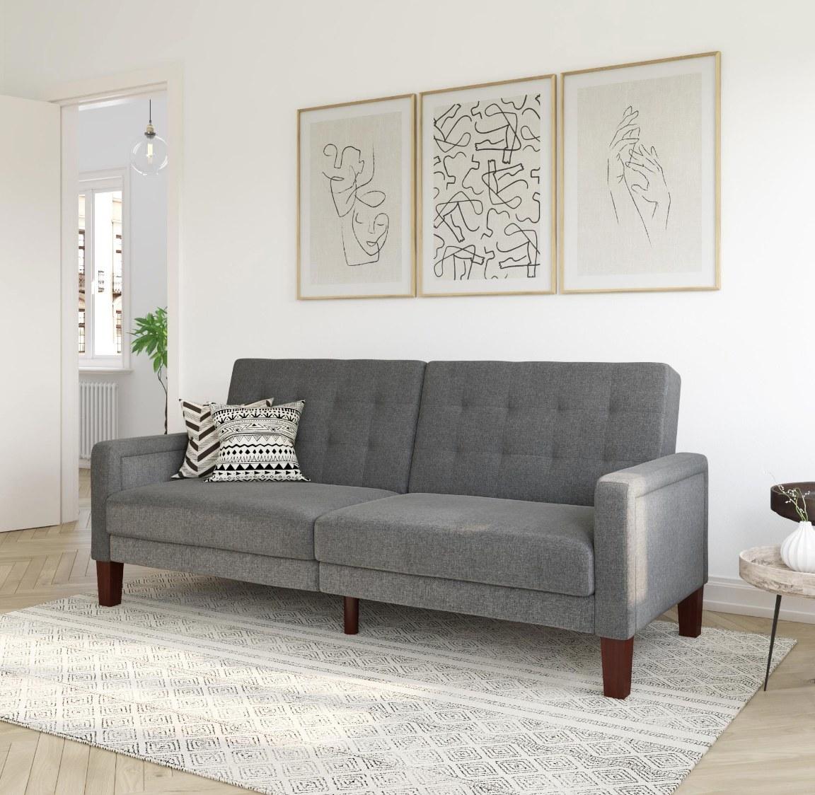 the linen futon in grey