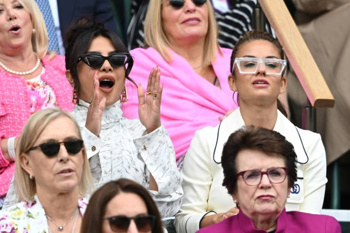 Priyanka Chopra is photographed during the Wimbledon Women's Final match over the weekend