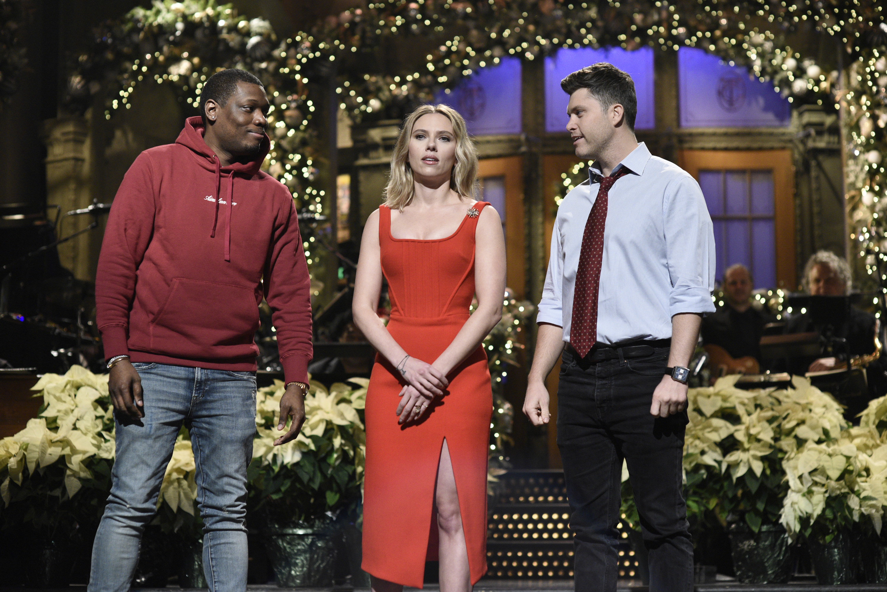 jost and johansson on stage at snl with michael che