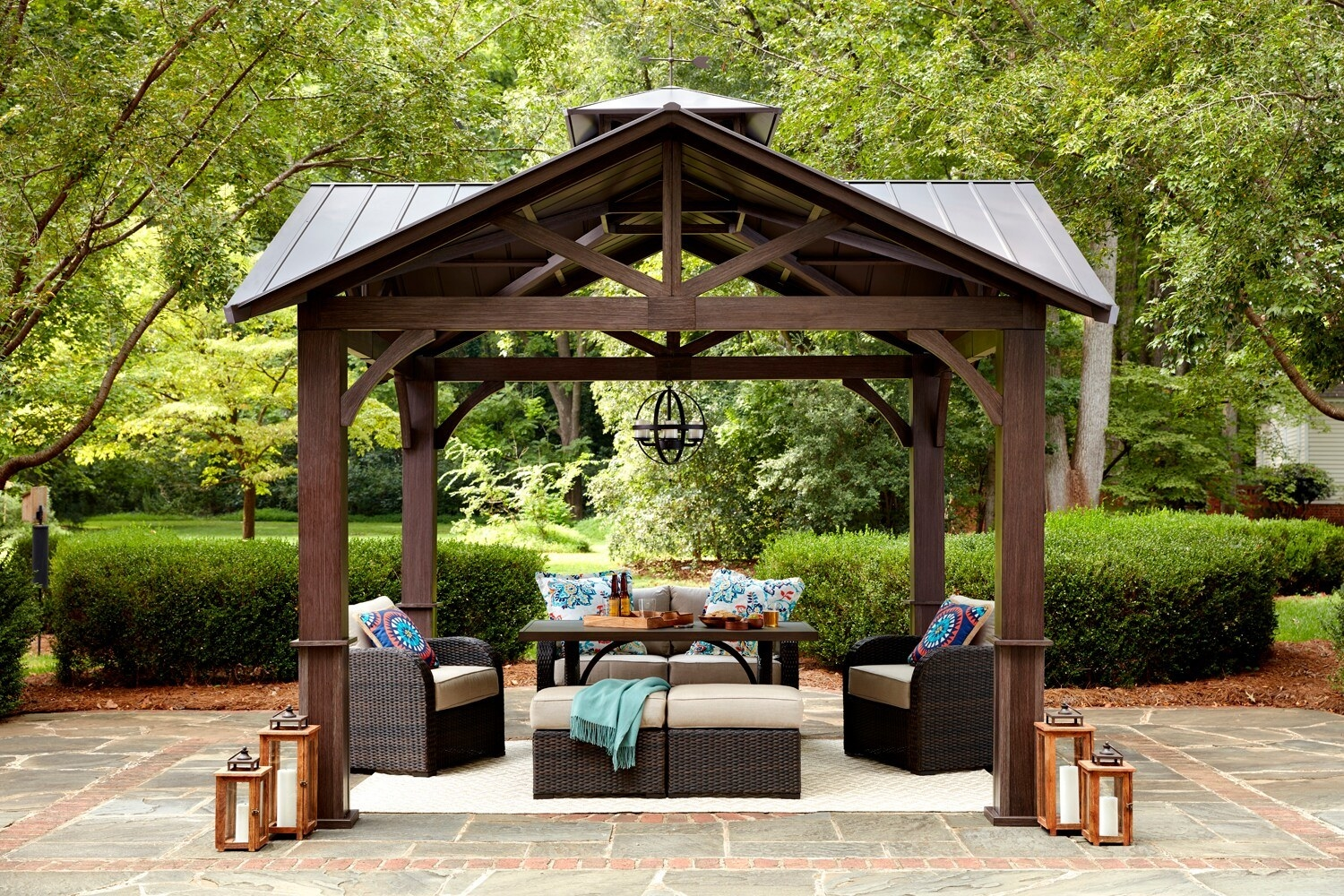 An image of a semi-gazebo with steel roof