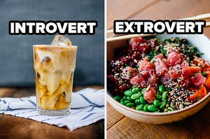 intovert coffee and extrovert poke bowl