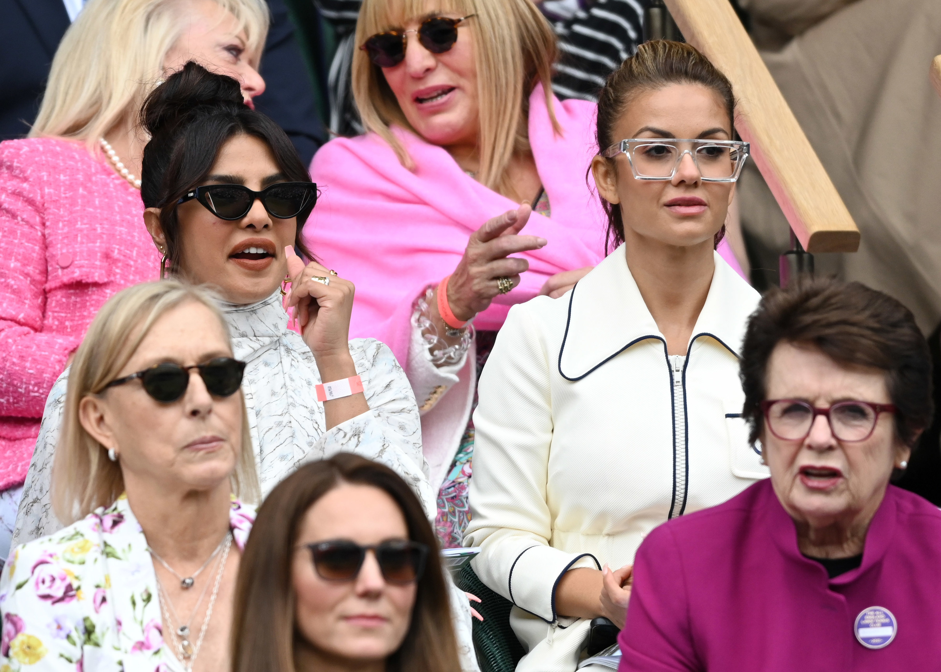 Priyanka Chopra and Kate Middleton are photographed during the Wimbledon Women's Final on Saturday