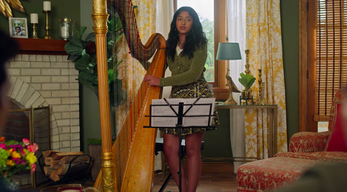 Devi about to play the harp