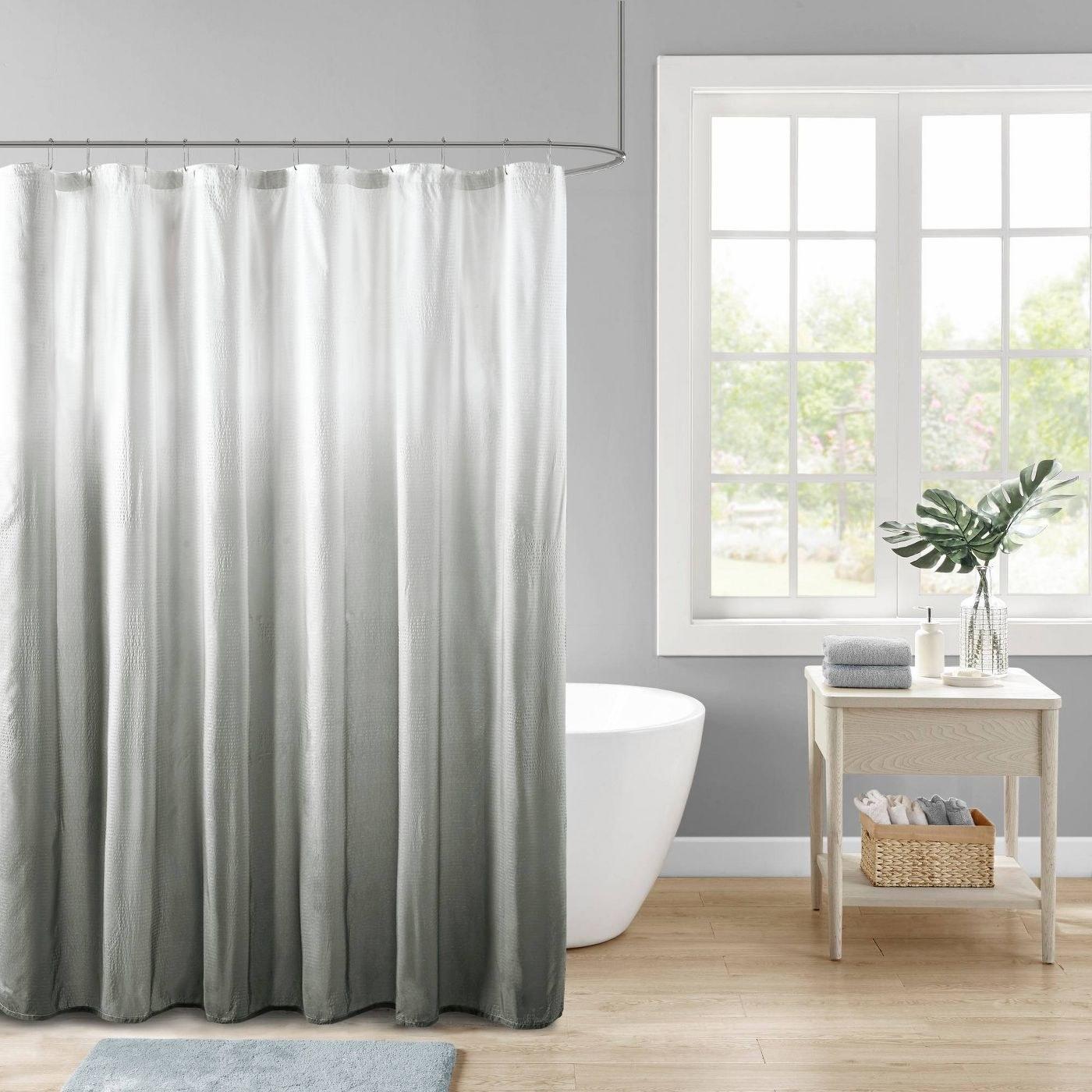 ombre seersucker shower curtain
