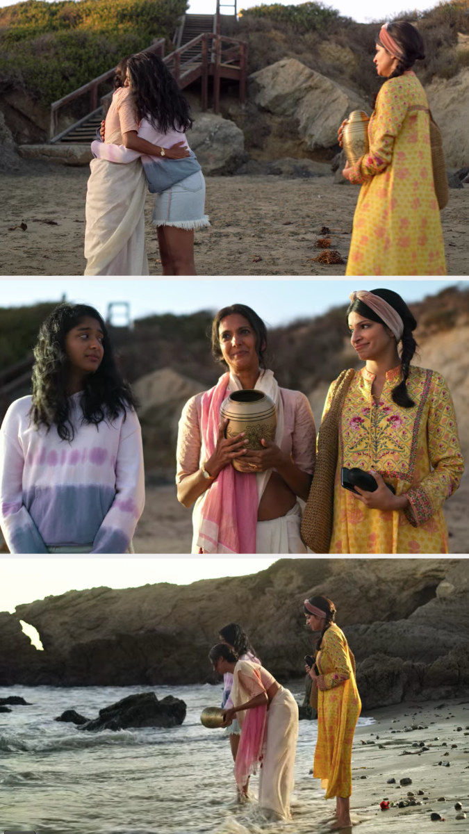 Devi, Kamala, and Devi's mom spreading her dad's ashes at the beach