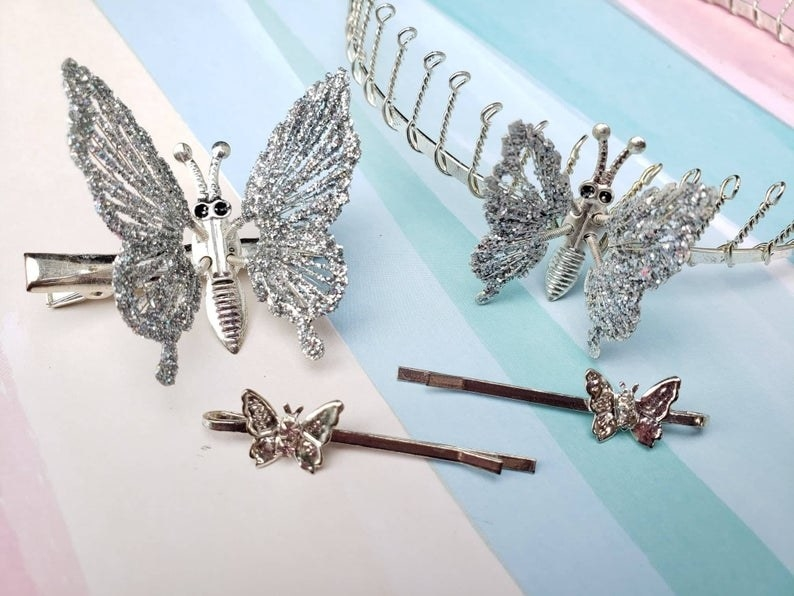 Different crystal butterfly hair clips