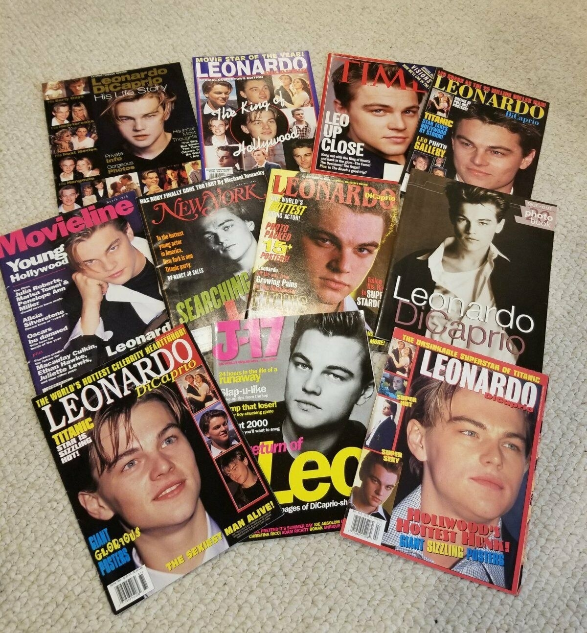 A pile of Leonardo DiCaprio magazines