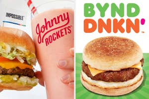 impossible burger at johnny rockets and beyond sausage sandwich at dunkin donuts