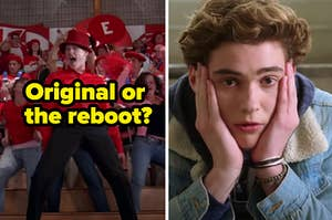 """A crew of high schoolers are on the left labeled, """"Original or the reboot?"""" with a teen holding his face on the right"""