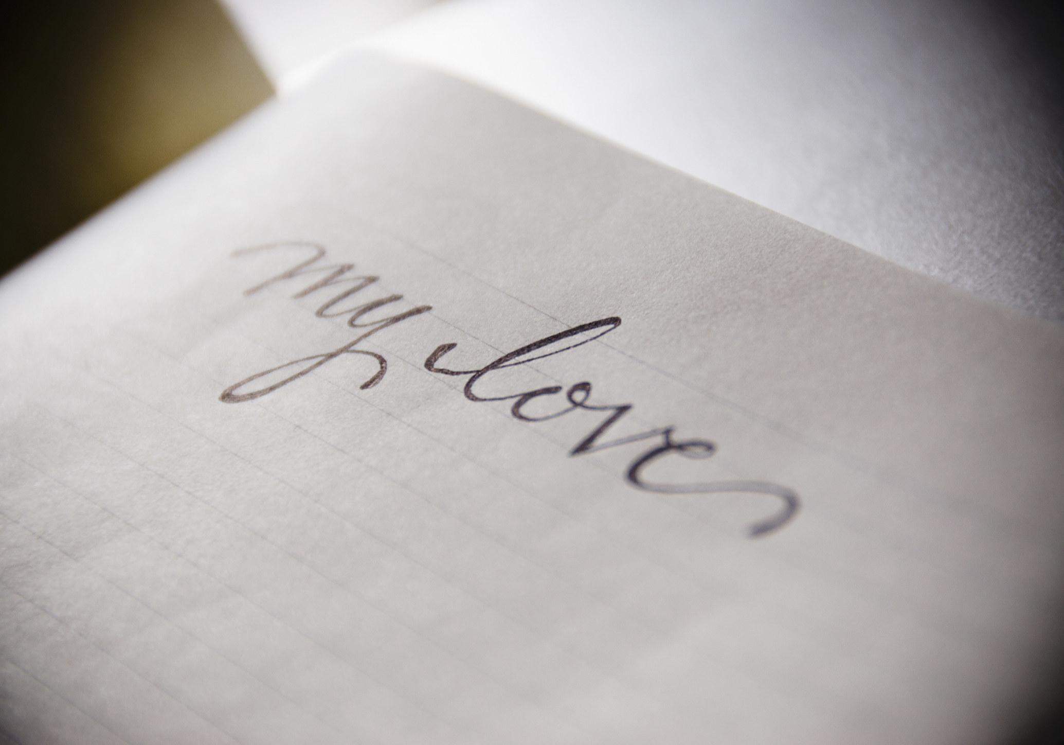 """A handwritten """"My love"""""""