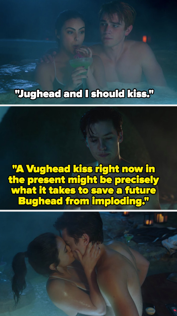 Veronica suggests she and Jughead kiss; Jughead says it might be what they need to keep him and Betty from imploding in the future
