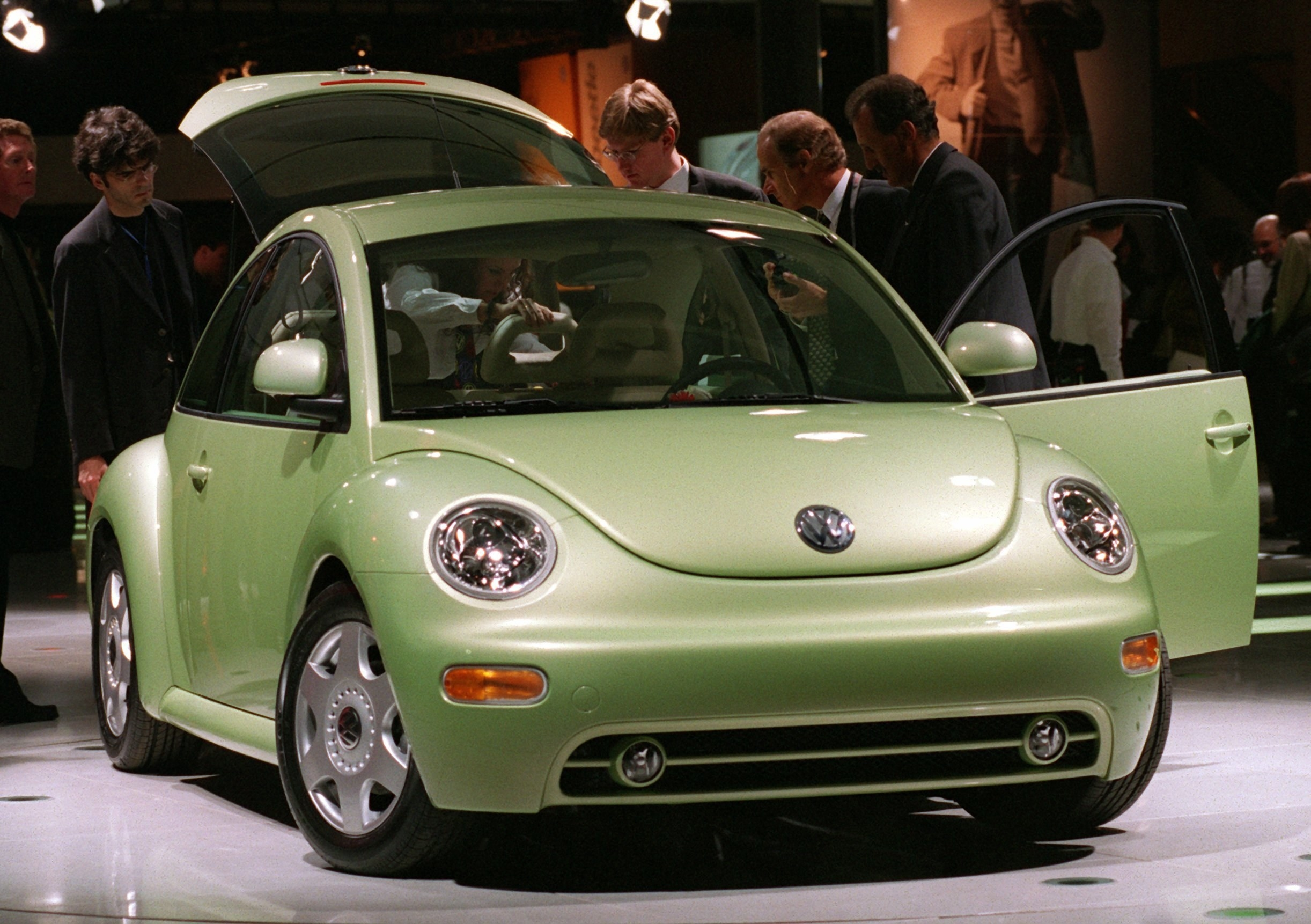 A lime green VW Beetle on display