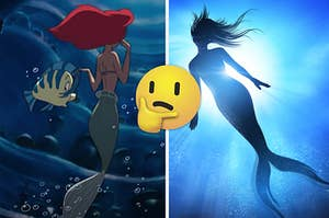 Ariel is underwater on the left with a mermaid floating on the right
