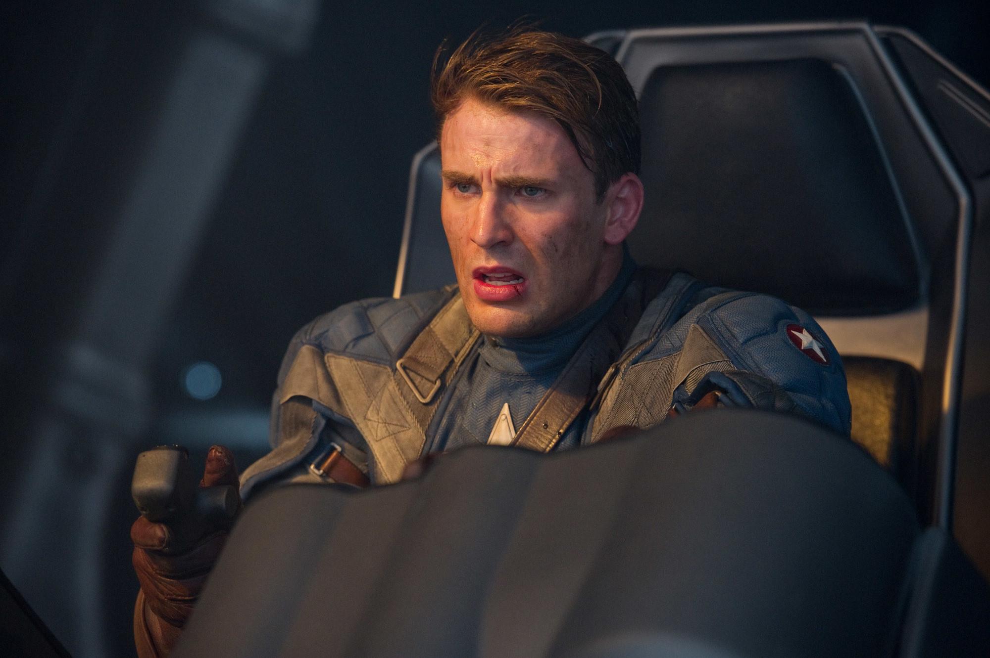 Captain America piloting a plane