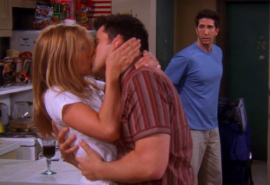Ross walks in on Rachel and Joey making out