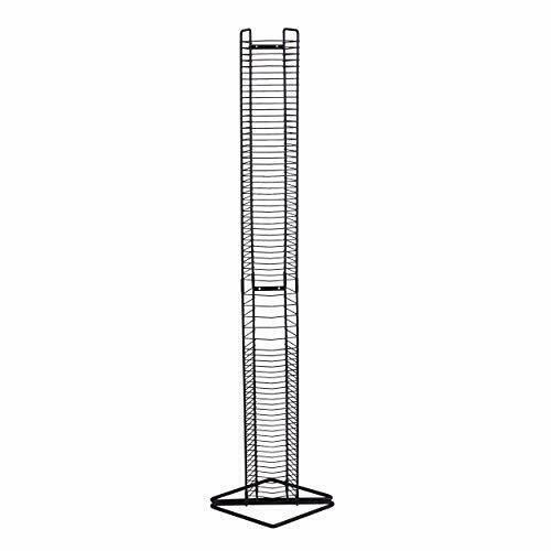 An empty metal CD tower