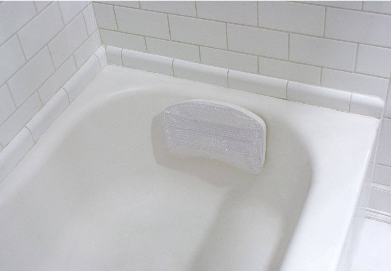 a gel bath pillow in a bathtub