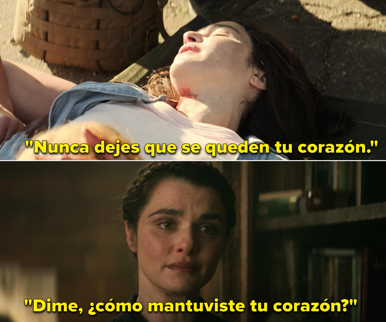 "Melina saying, ""Never let them take your heart"" vs. Melina asking Natasha how she kept her heart"