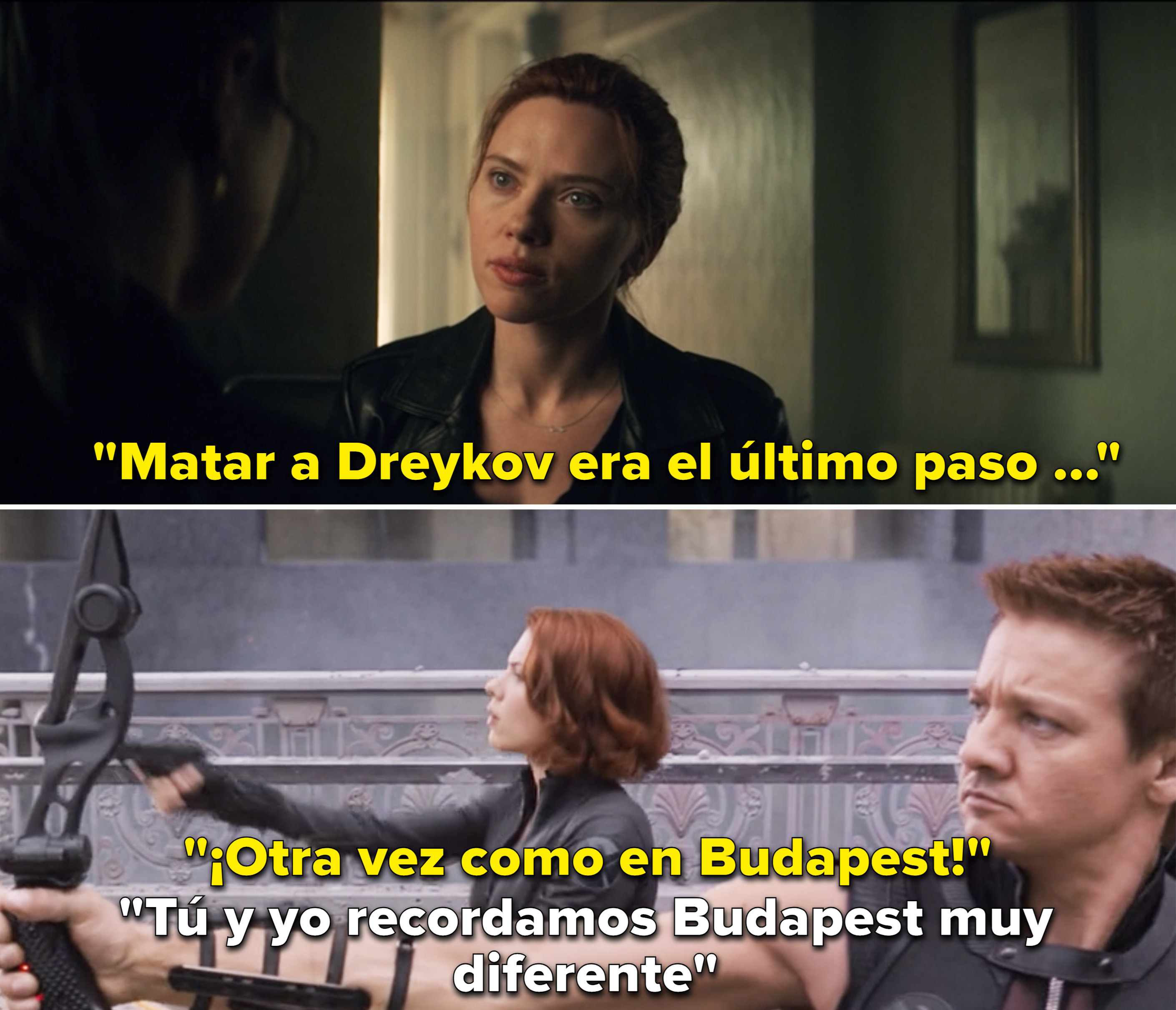 """Natasha mentioning Budapest in The Avengers, and Clint saying, """"You and I remember Budapest very differently"""""""