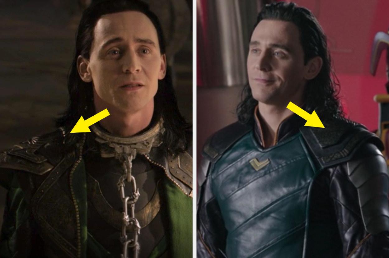 Loki's ornate shoulder pad in Dark World vs. Loki's angular shoulder pad in Ragnarok