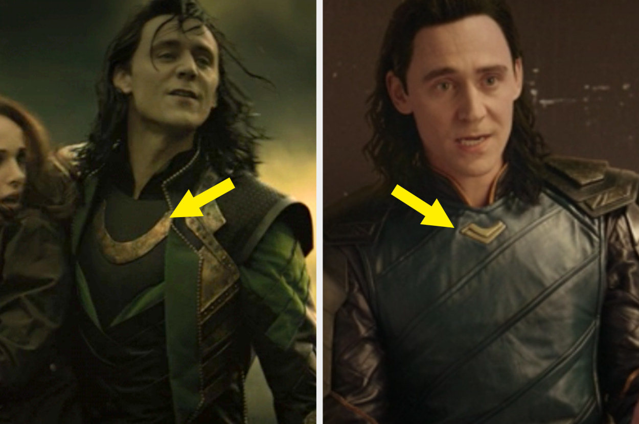 Loki's large, gold necklace in Dark World vs. Loki's small, gold mini necklace in Ragnarok