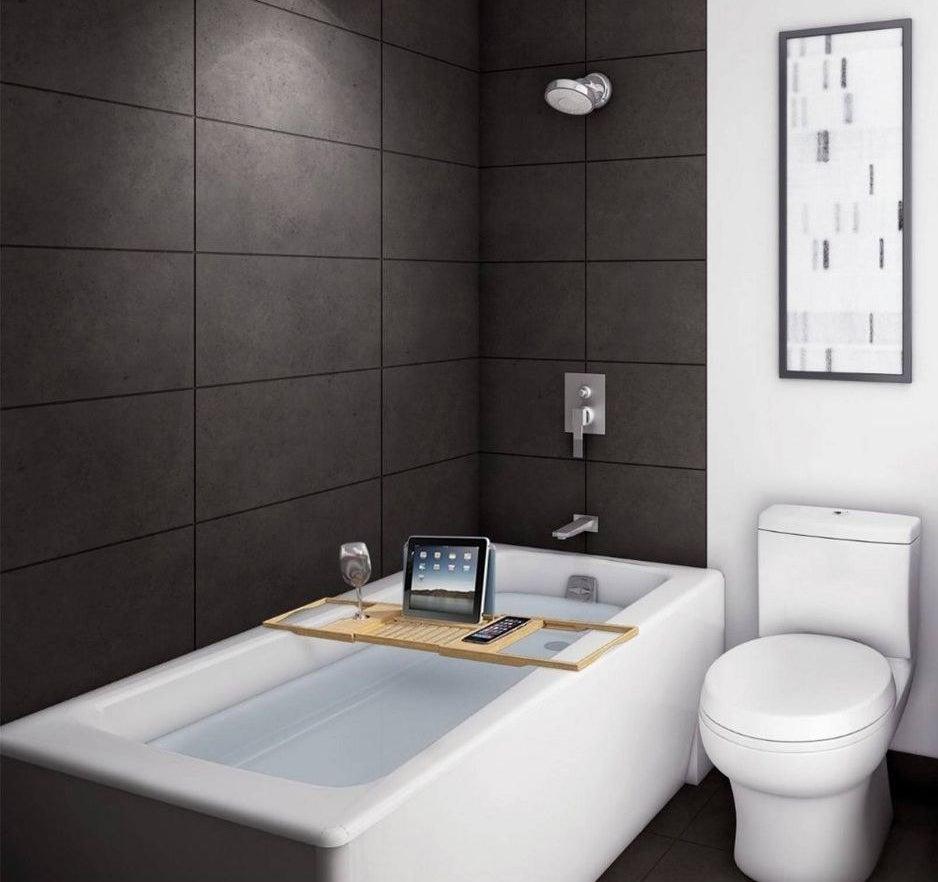 a bamboo bath shelf over a bathtub
