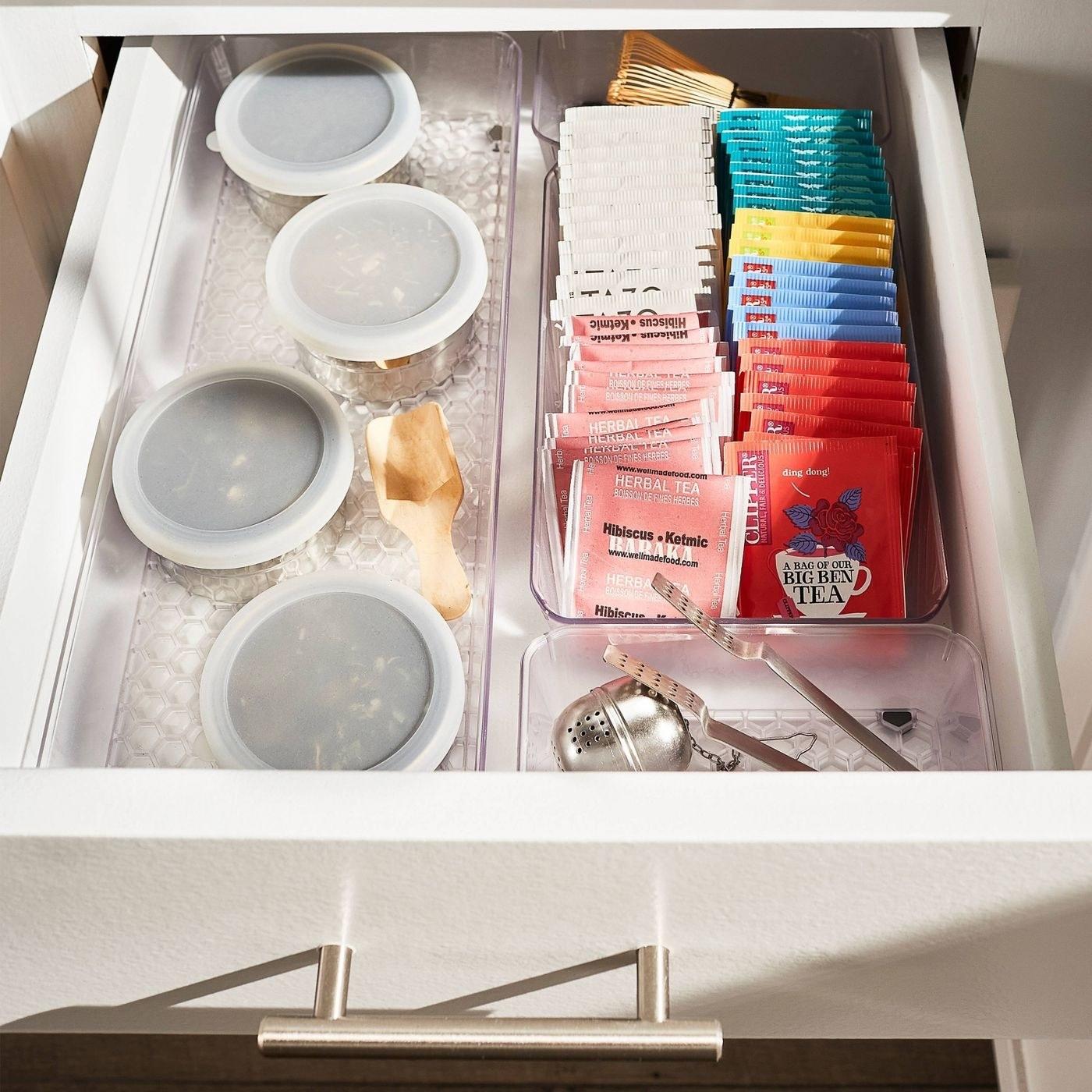 rectangular drawer organizers inside of a drawer