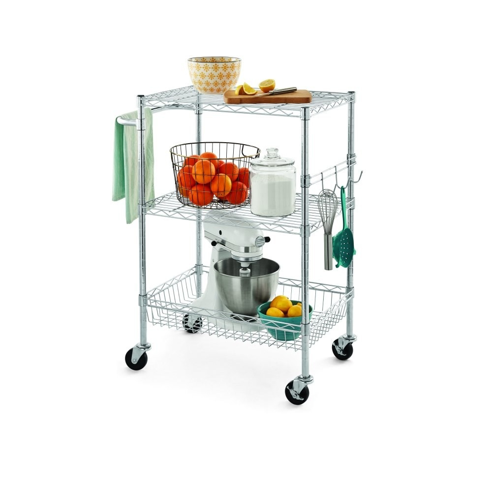 the rolling cart with kitchen utensils and tools on it