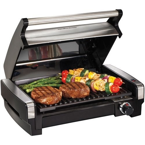 the indoor grill with food on it
