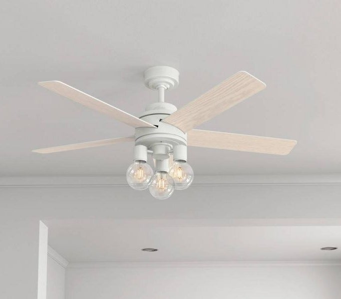 The white remote-controlled multi-bulb ceiling fan