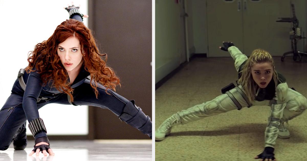 Black widow and Yelena doing the same superhero pose
