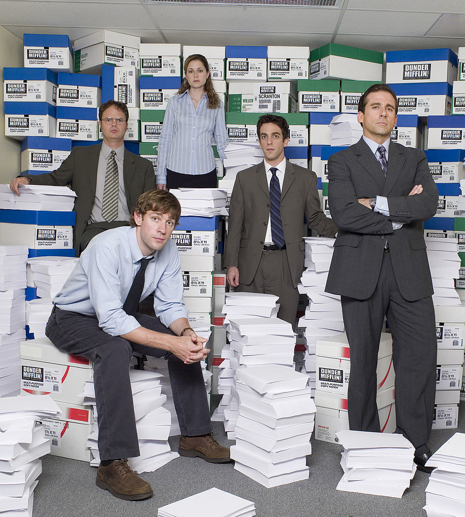 (clockwise from top) Jenna Fischer as Pam Beesly, B.J. Novak as Ryan Howard, Steve Carell as Michael Scott, John Krasinski as Jim Halpert, Rainn Wilson as Dwight Shrute