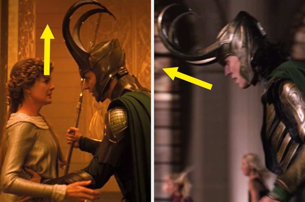 Comparison of Loki in the first movie with the horns going up and back on his helmet vs. Loki in Dark World where the horns curve forward far more and then upLok