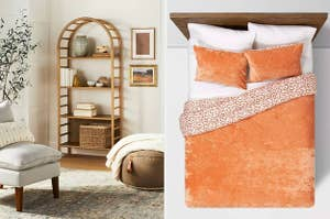 a bookcase with an arched top; an orange pillowcase set and duvet