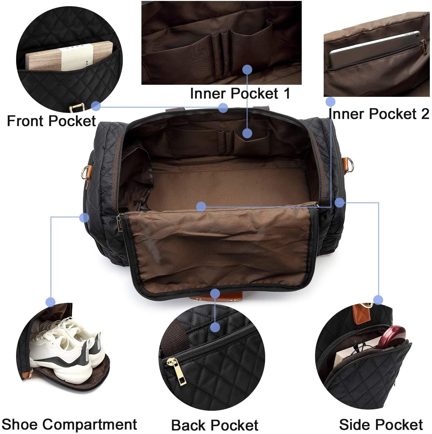 The black quilted duffle bag with a front pocket, two inner pockets, a side pocket, back, pocket, and a shoe compartment on the side