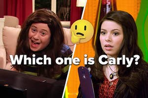 Carly from iCarly and Nevel dressed as Carly side by side