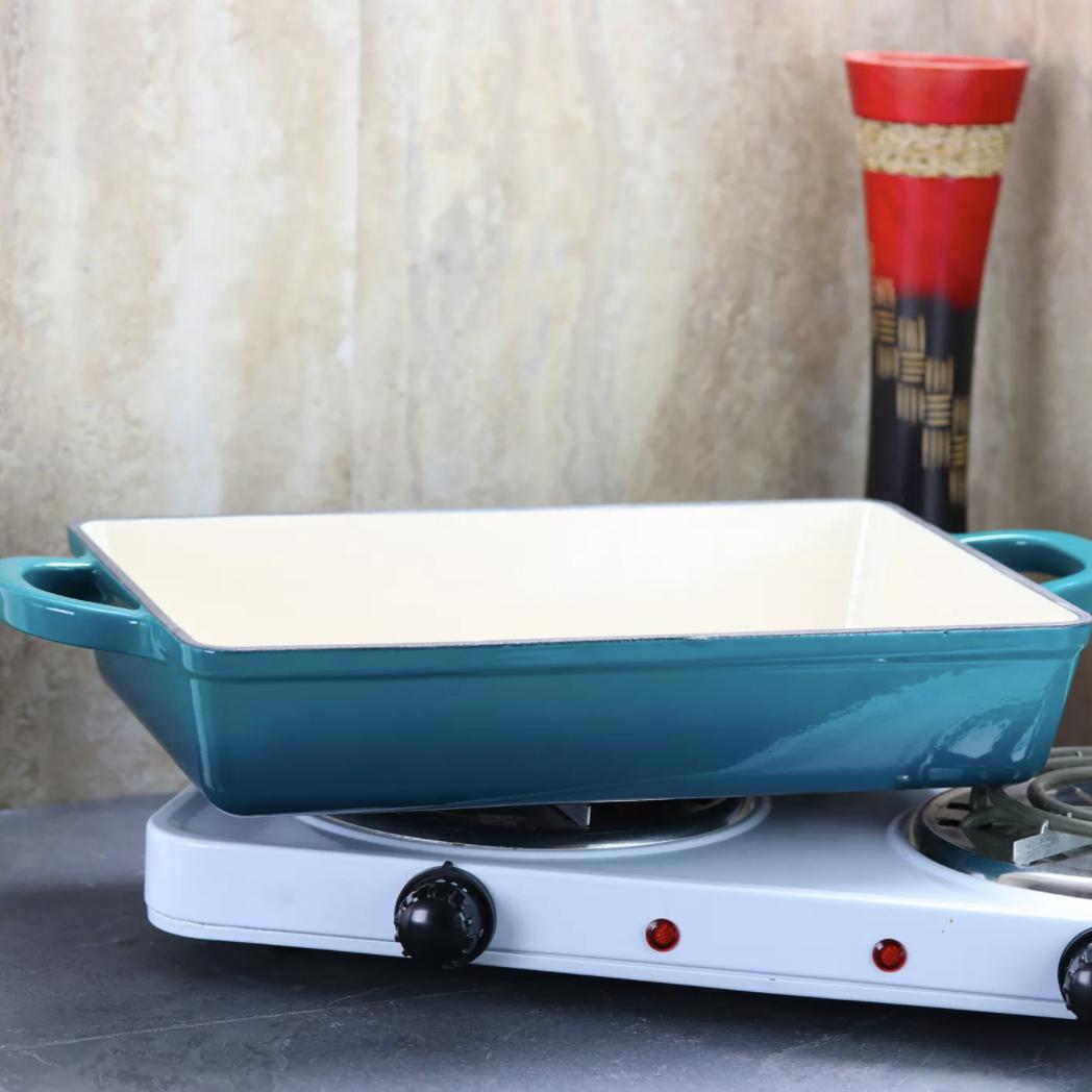 a blue rectangular casserole dish