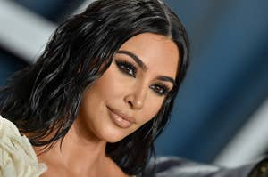 Kim Kardashian is pictured at the 2020 Vanity Fair Oscar Party