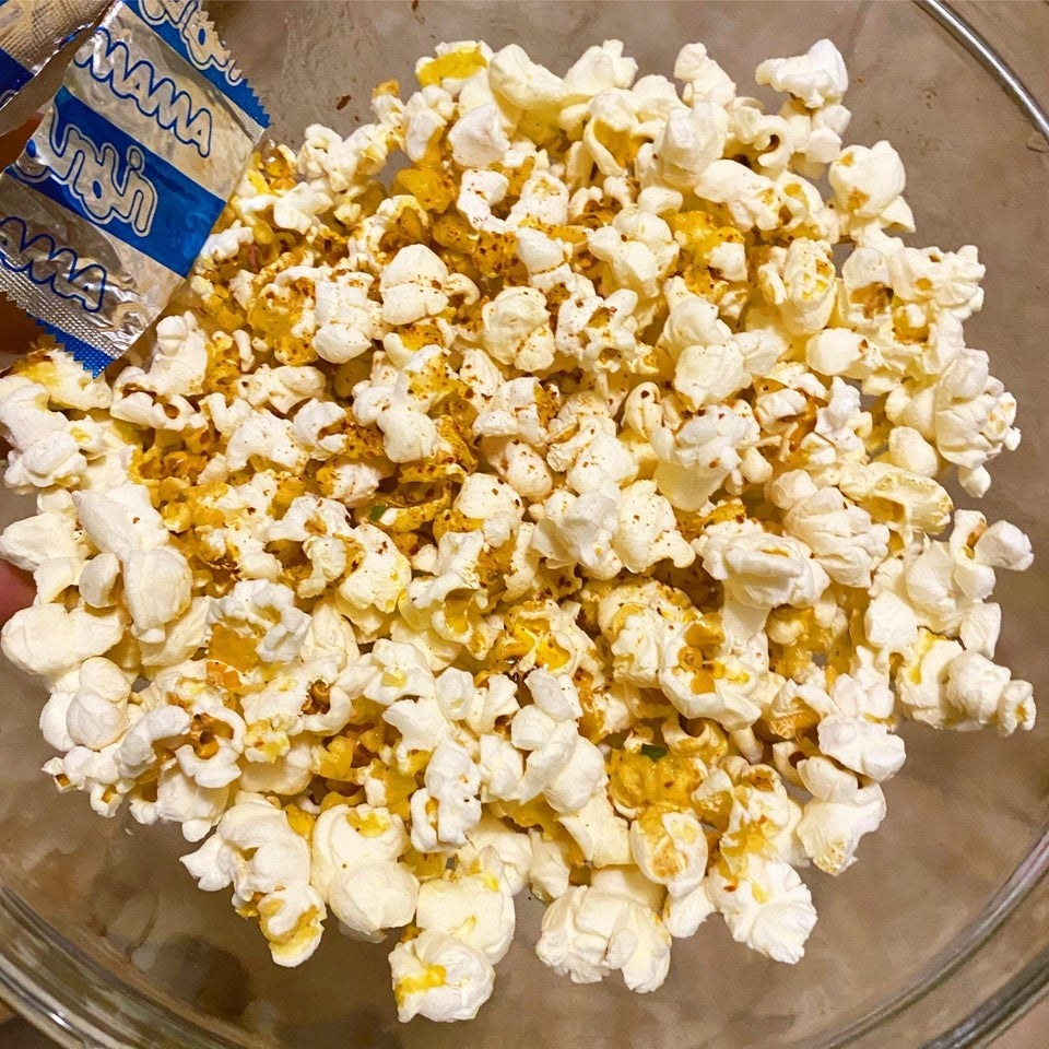 Popcorn tossed with ramen seasoning.