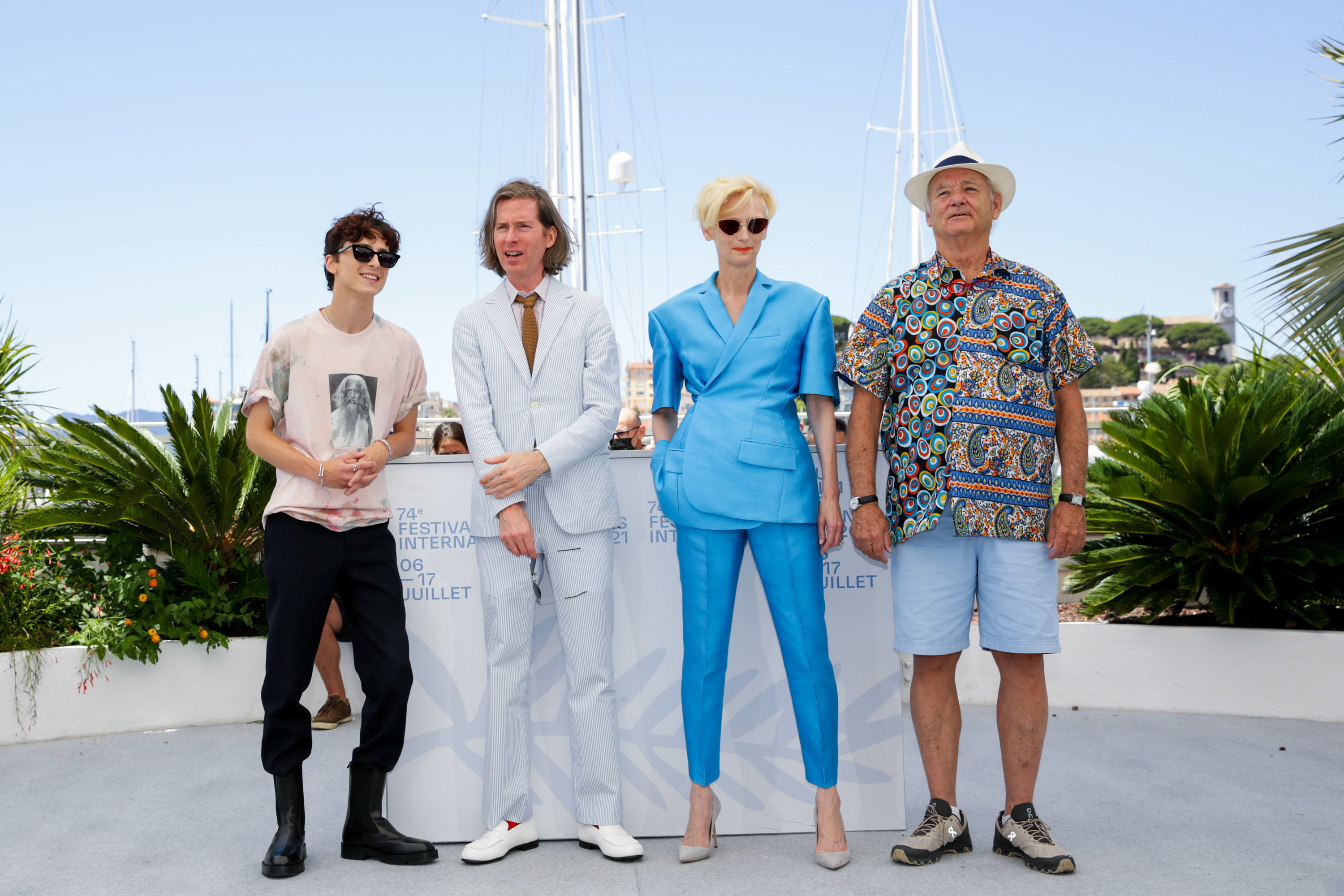 Timothée Chalamet, Wes Anderson, Tilda Swinton and Bill Murray are photographed at the Cannes Film Festival