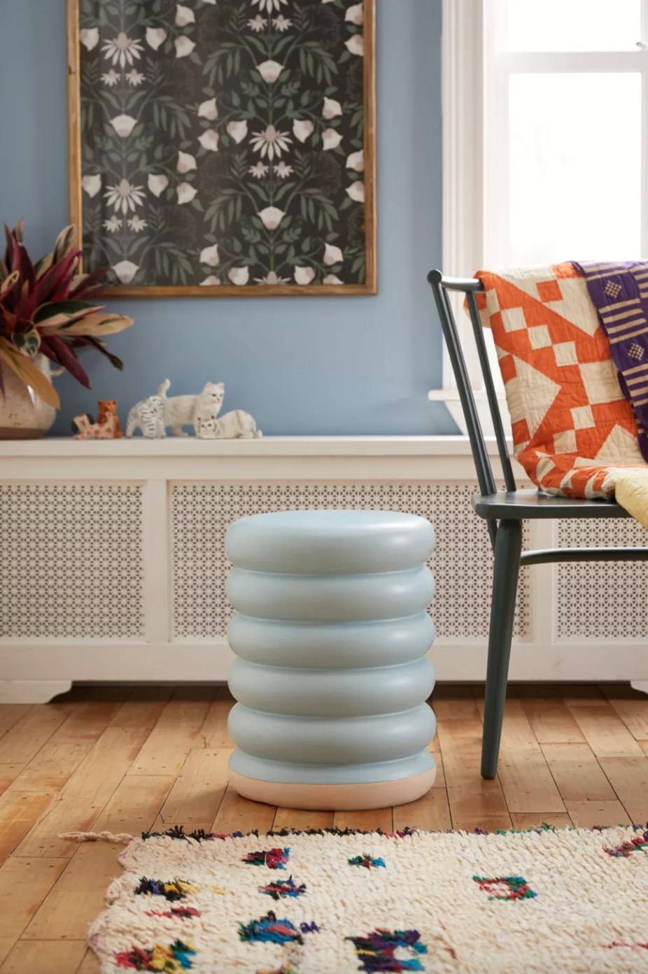 the indoor/ outdoor side table in sky blue