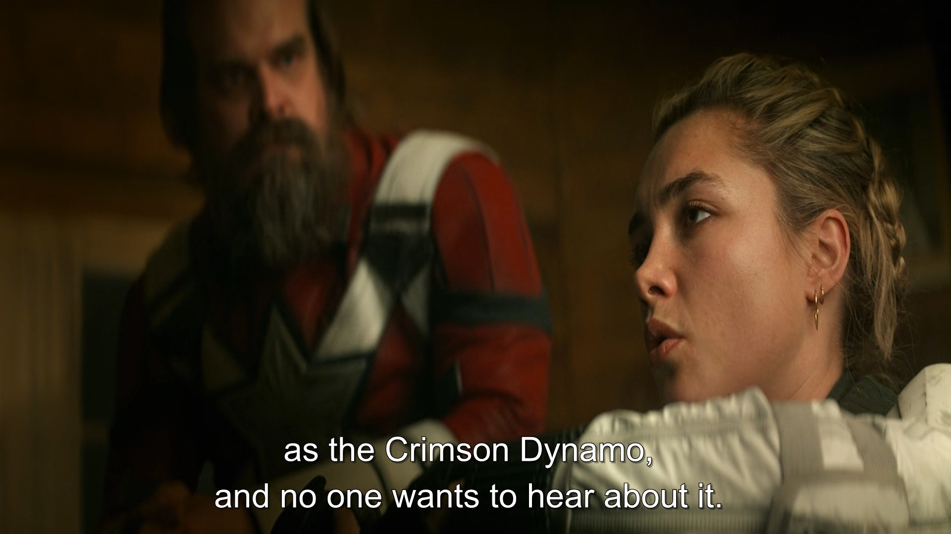 "While berating, Yelena deliberately calls Alexei ""Crimson Dynamo""."