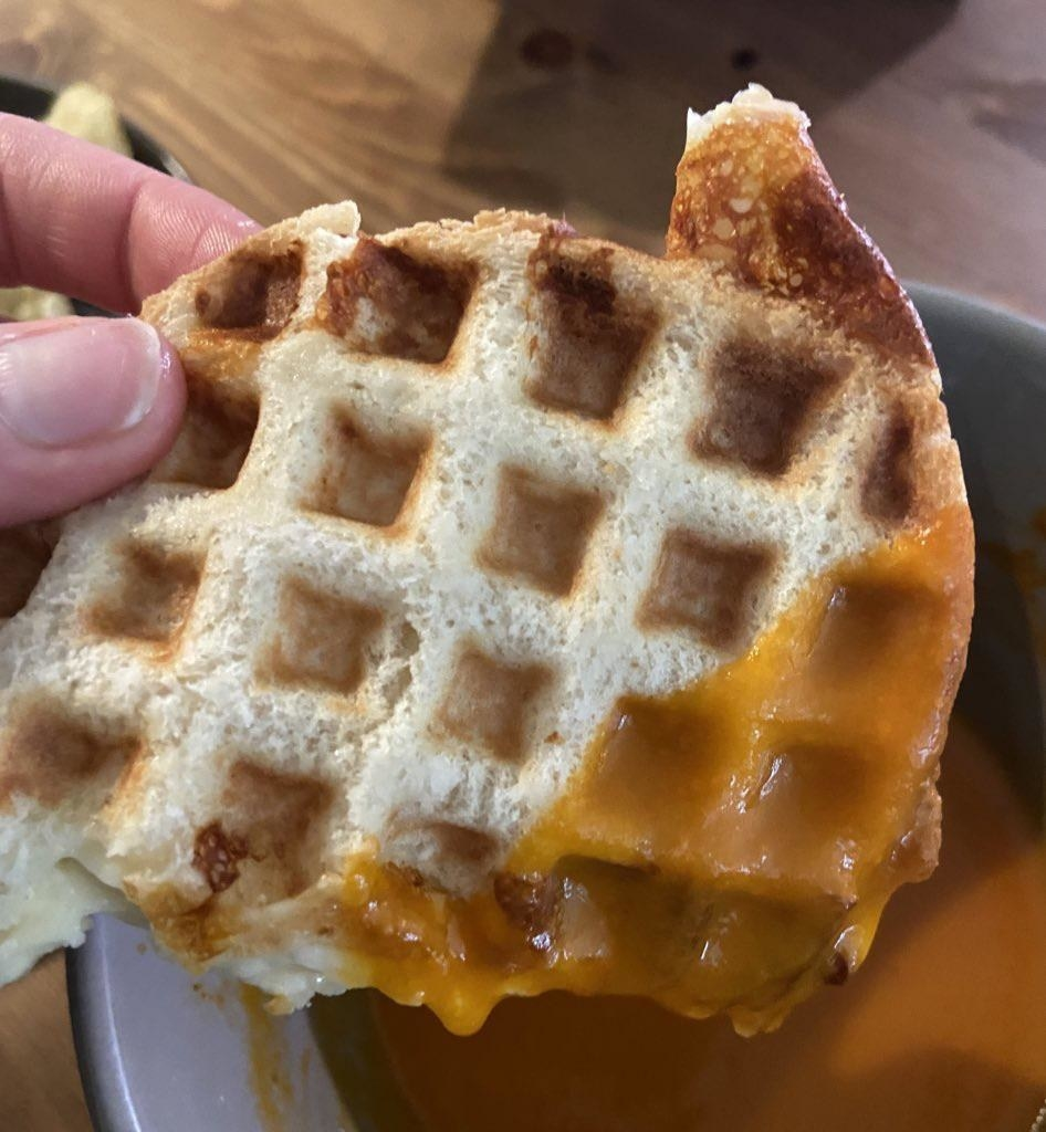 Grilled cheese made in a waffle iron.