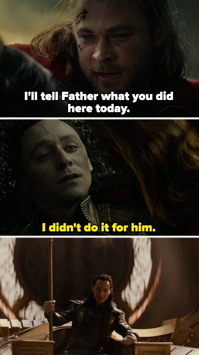 Loki's death scene, plus him sitting on Odin's throne