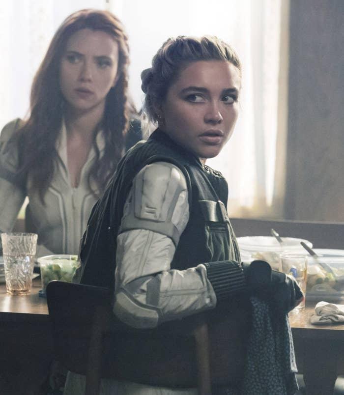"""Scarlett Johansson as Black Widow, Florence Pugh as Yelena Belova in """"Black Widow"""""""
