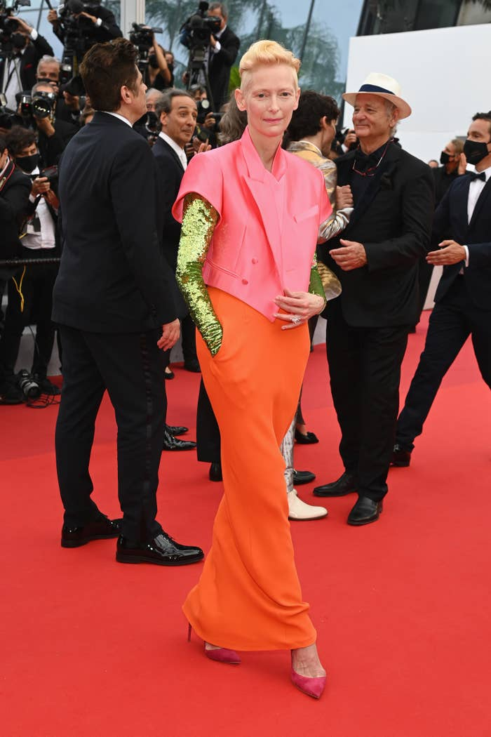 Tilda Swinton appears on the red carpet at the Cannes Film Festival