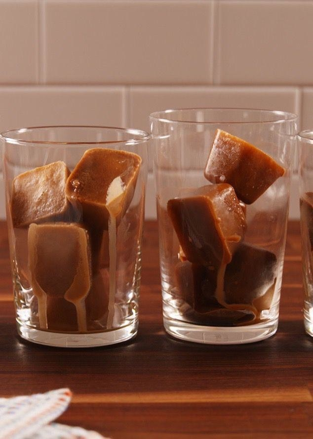 Coffee ice cubes in glasses.